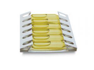 Desarrollo de un estuche para botellitas con líquido. Ondas de cartón